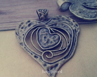 2pcs Antique bronze  Love Heart pendant charm 63mmx75mm