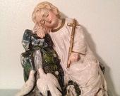 "Vint Chalkware Statue Rest Christ Child Cross Dove Decor Christmas Not Signed 8"""