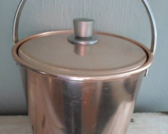 Mid Century Modern Regal Brand Anodized Aluminum Lidded Ice Bucket with Silver Accents