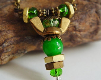Antique Bronze and Forest Green Beaded Wing Nut Angel Necklace