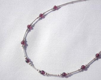 Garnet & Sterling silver necklace