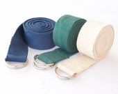 Yoga Straps - Superior Non-stretch Cotton Twill with Metal D-rings Buckle | 6' and 8' Length