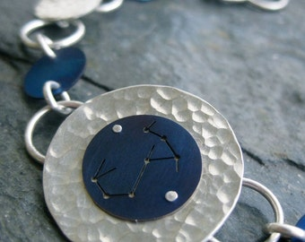 Scorpio Constellation Bracelet Titanium and Silver Discs