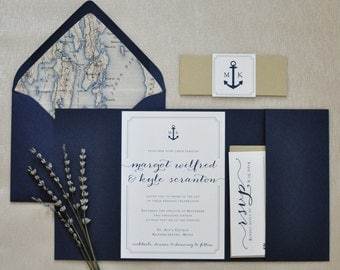 Nautical Wedding Invitation - Pocketfold Invitation - Nautical Invitation - Navy and Gold Wedding Invite