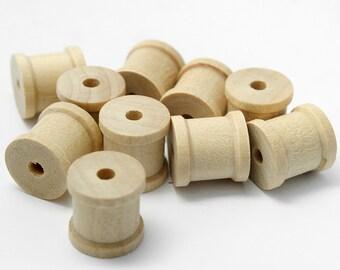 """100 Mini Wooden Spools, 1/2"""" Tall and 1/2"""" Wide , Tiny Wood Spools, (#W40)"""