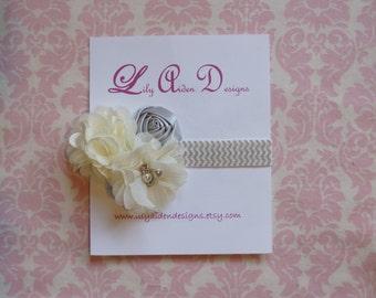 Cream and Silver Chevron headband/ Newborn headband/ Baby girlheadband