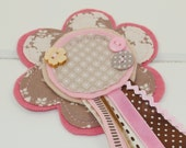 Shabby Chic Rosette ~ CHOCOLATE BROWN & PINK ~ the perfect accessory for Birthday Parties and Special Occasions