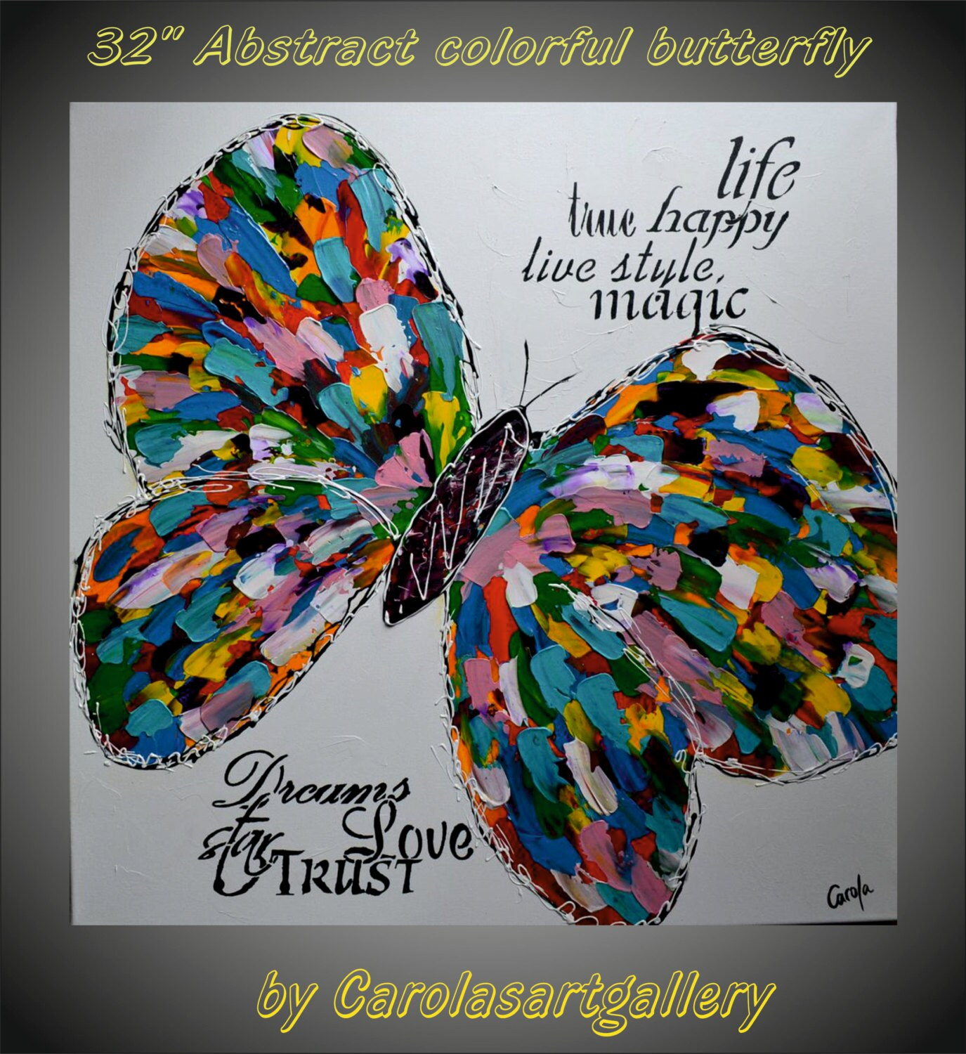 32 Original Abstract Butterfly Painting Acrylic Painting