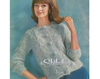 1960s Cable Knit Cardigan Bulky Sweater - Knit pattern PDF 7823