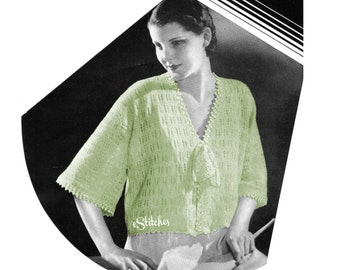 1930s Sweater or Bedjacket with Belled Elbow Sleeves  - Knit pattern PDF 5357