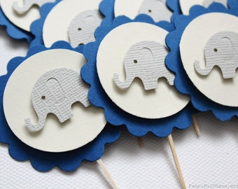 24 Baby Elephant Cupcake Toppers, Boy Baby Shower, Birthday, Party Decorations