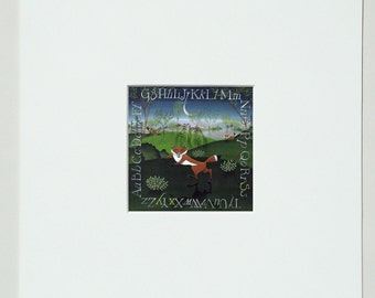 fox digital reproduction mini matted print