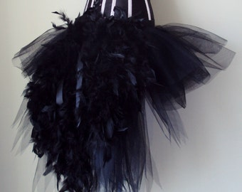 Black Swan Tutu skirt Burlesque  all sizes avaliable  feathers