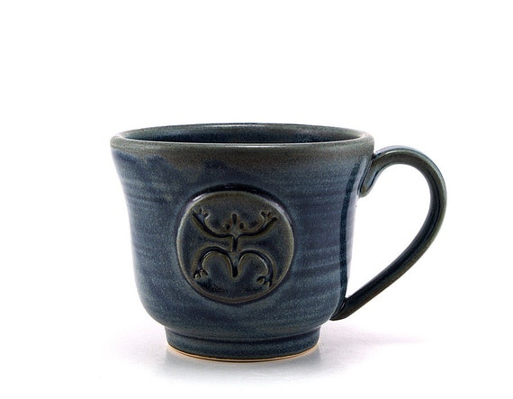 Frog Coffee Mug, Blue Coqui Taino Puerto Rico Mug, Unique Christmas Pottery Gift by MiriHardyPottery - Ready to Ship