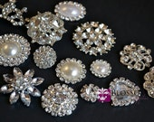 Assorted Rhinestone Metal Embellishment Buttons - Set of 5 - Flower Centers - Wedding Bridal Prom