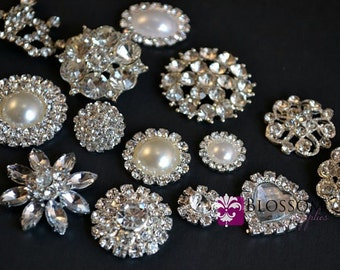 Assorted Rhinestone Metal Embellishment Buttons - Flower Centers - Wedding Bridal Prom Jewels - Vintage Inspired Stones Silver Color Setting