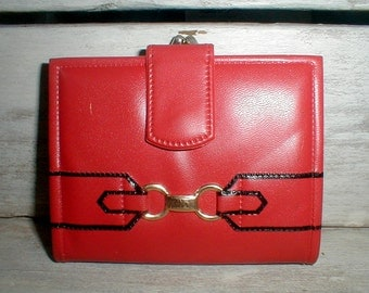 Vintage Mod Red Vinyl Change Purse & Fold Out Wallet Combo Made In Hong Kong