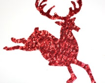 NEW Deer Christmas Applique Design Hot Fix Transfer with Sequins For Sew On Glue On