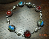 Carnelian, Rainbow Calsilica and Sterling Silver Bracelet