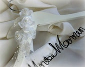 Mrs Bride Hanger in White or Ivory Flowers, Great Personalized Gift From Mother of Bride or Groom