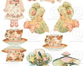 Printable Sheet of Vintage Craft Images - 1 Digital Collage Sheets as an instant Download File