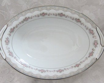 "Noritake Glenwood Pink and Grey Flowers Platinum Boarder 10"" Vegetable Serving Bowl."
