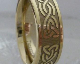 Tungsten Ring, Celtic Wedding Band, 18K Gold, Tungsten Carbide Anniversary ring, celtic ring, men women, tungsten ring
