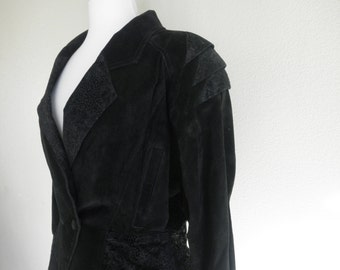 80's Black Suede Wilsons Jacket (with floral detailing)