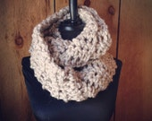Hand Crocheted Knit infinity Scarf - Oatmeal
