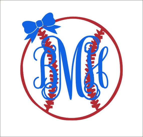 Baseball Monogram With Bow Decal Vinyl Decal Car Decal Car - Custom car decals baseball