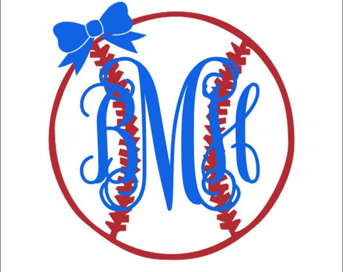 Baseball Monogram with Bow Decal Vinyl Decal Car Decal Car Window Personalized Monogram Girly Baseball Softball Decal Custom Preppy