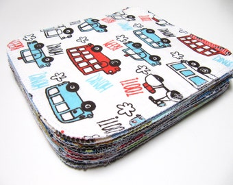 Cloth Wipes, Cloth Diaper Wipes, 15 Boys Mixed Prints, Eco-Friendly Wipes, Reusable Cloth Wipes, Flannel Cloth Wipes, Family Cloth