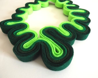 Statement Necklace Felt Necklace Felted Jewelry Recycled Eco Friendly Felt Bib Necklace In Ombre Green