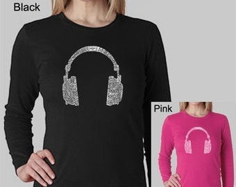 Women's Long Sleeve Shirt - Created using 63 Different Genres of Music
