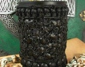 Skull Pillar Black Beeswax Candle