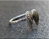 Angel Wings Ring, Sterling Silver Angel Wings Ring, Angel Jewelry, Stacking Jewelry, Stacking Ring, Faith Jewelry, Sterling Silver Ring