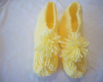 Yellow Knitted Child's Slippers