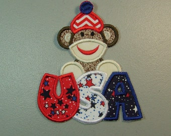 Patriotic  sock monkey embroidered iron on applique or patch