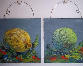 Lemon Lime Mini paintings, set of two. Free Shipping