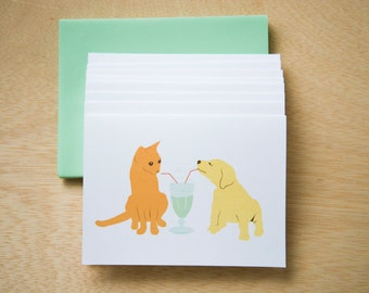 Cat and Dog share a milkshake - Set of 8 Cards