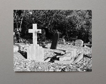 Cross Headstones In An English Cemetery, Black and White Photography, Monochromatic, Grave, Graveyard, Cemetery Art, Cemetery Photography