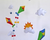 Flying Kites and clouds Baby Crib Deco Mobile. Choose your colors for an unique baby nursery mobile