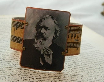 Composer jewelry Composer bracelet Brahms jewelry classical music jewelry mixed media jewelry