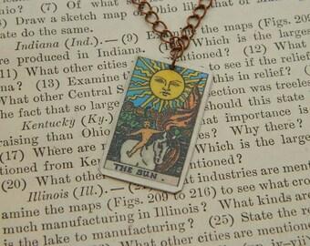 Tarot pendant tarot jewelry The Sun minimalist jewelry mixed media jewelry supernatural
