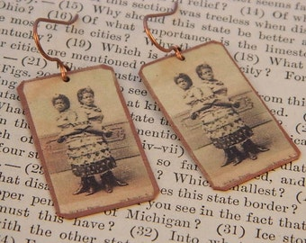 Circus earrings Circus Freak Cojoined Twins Circus Jewelry mixed media jewelry