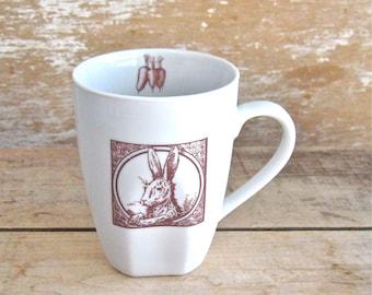 Mug with Rabbit, Rabbits Hares Carrots, Woodland Animal, Wild Mug, 12 oz Porcelain Coffee Cup, Ready to Ship