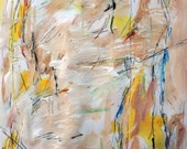 """Landscape 2-2-14c """" ... as a vagrant"""" series (abstract expressionist painting, blue, pastel, pink, red, yellow, white, cream)"""