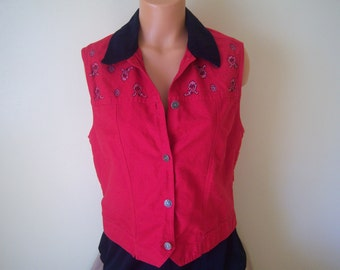 Ladies Vintage Country Western Vest / Sleeveless Top, Rhythm Blue, 1980's, Size Large, 100% Cotton, Red Bandana Look