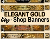 ELEGANT GOLD Etsy Banners, NEW Etsy Cover 1200X300, Gold, Jewelry Banners, Gold Etsy Banners, Premade Shop Banners, Wedding Shop Banners