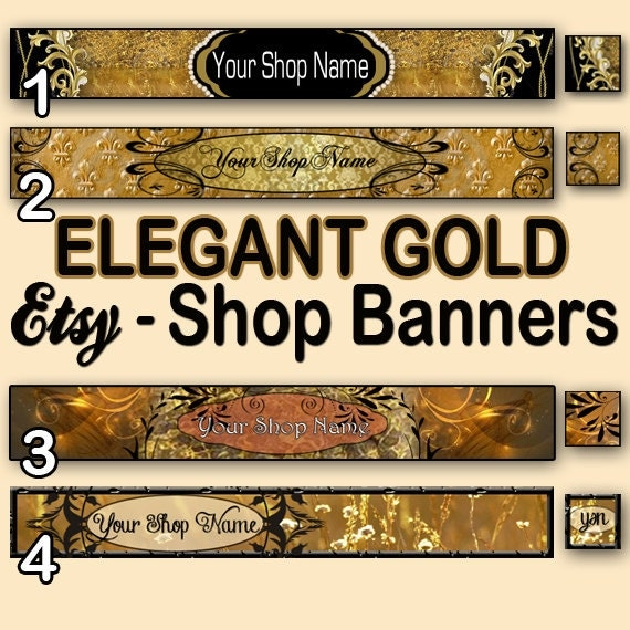 Items similar to ELEGANT GOLD Etsy Banners, NEW Etsy Cover ...